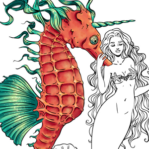line artsy purchase mermaid seahorse adult coloring page