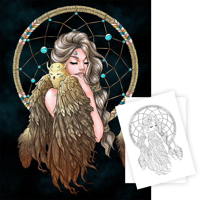 new line artsy free adult coloring page: dreamcatcher