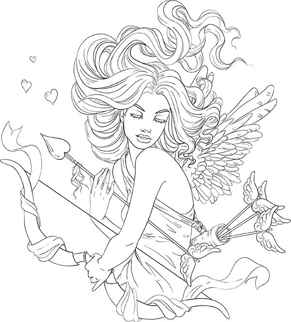lineartsy free adult coloring page cupid lined