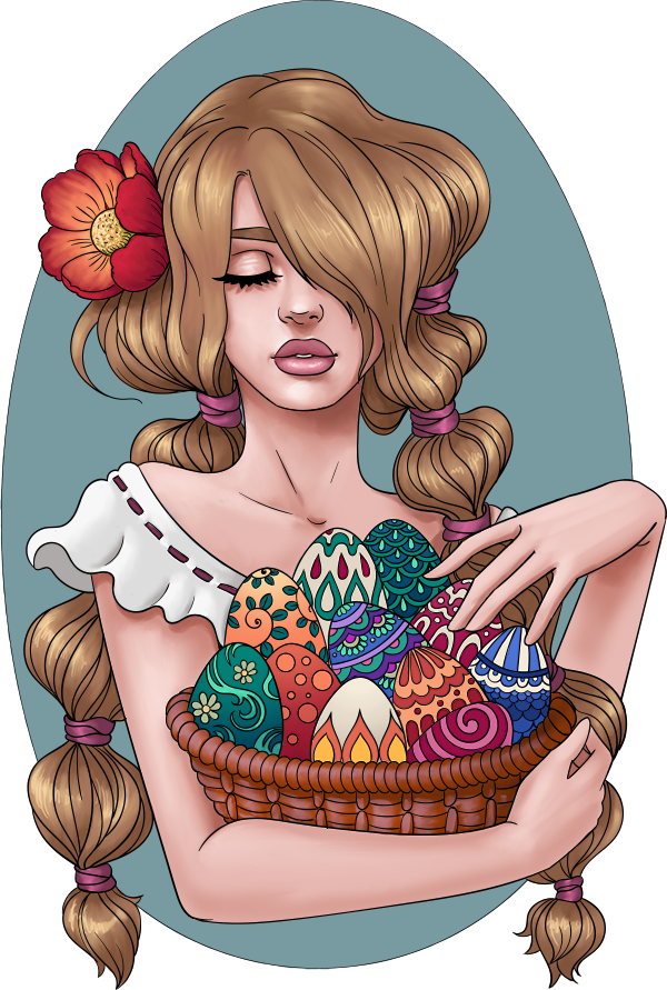 lineartsy free adult coloring page easter colored
